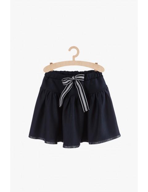Granatowa elegancka spódnica z kokardką
