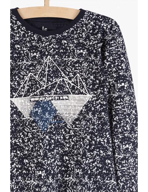 Granatowa bluzka z długim rękawem- nakrapiana Mountain