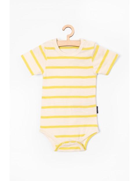 Dzianinowe body dla niemowlaba- białe w żółte paski