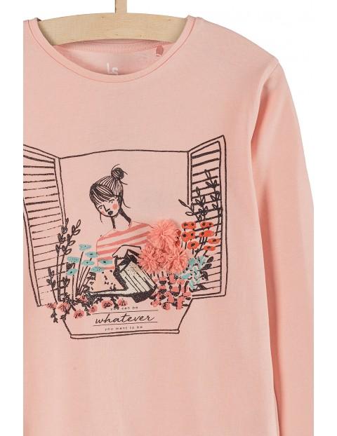 Bluzka dziewczęca dzianinowa- różowa z aplikacją 3D