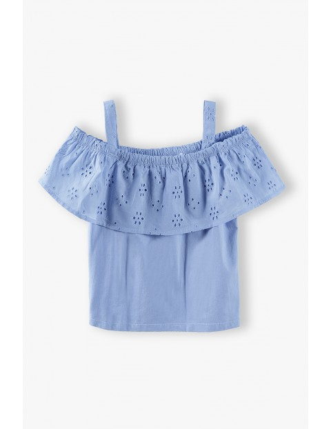 T-shirt dziewczęcy  z falbanką - niebieski