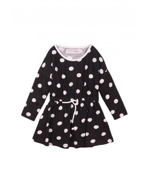 Czarna sukienka w białe grochy- 100% bawełna