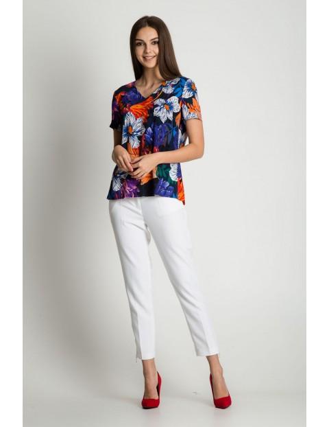 Bluzka damska w kolorowe kwiaty - krótki rękaw