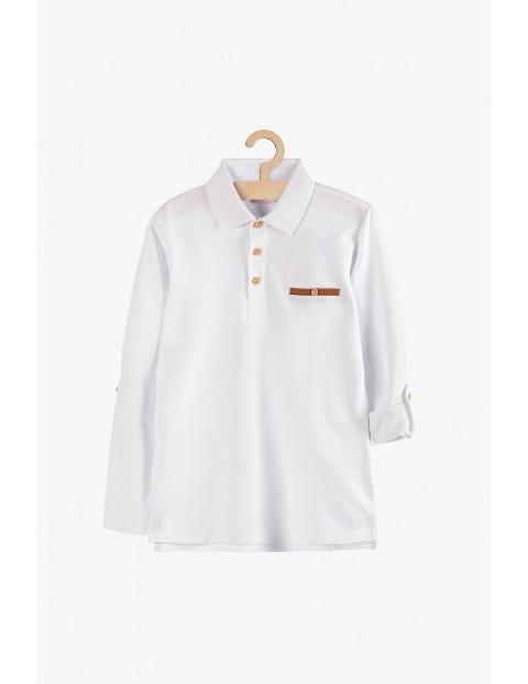 Biała bluzka chłopięca z kołnierzykiem i długim rękawem