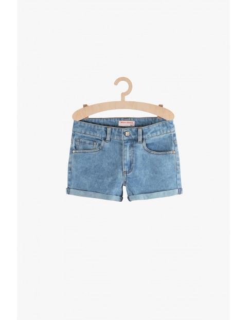 Szorty dziewczęce jeansowe marmurkowe-niebieskie
