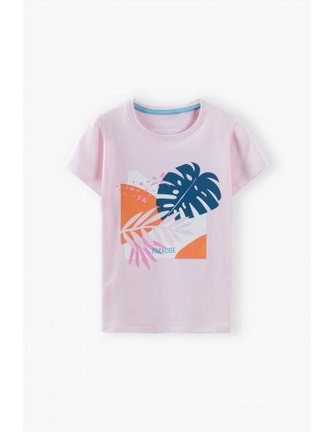 T-shirt dziewczęcy  z kwiatami - różowy