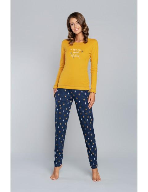 Piżama Gemini długi rękaw i długie spodnie - miodowy druk