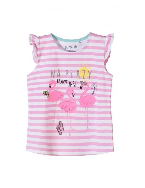 T-shirt dziewczęcy w paski -flamingi