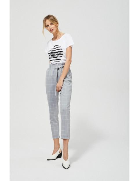 Spodnie typu chinos z wysokim stanem- szare w kratkę