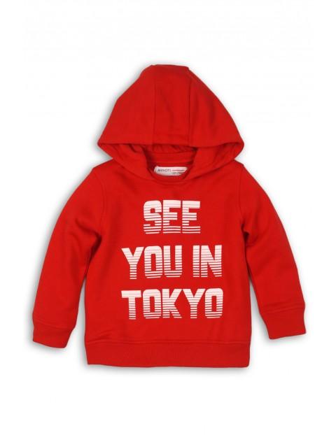 Bluza dresowa chłopięca- czerwona z napisem See you...