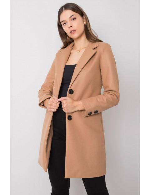 Ciemnobeżowy płaszcz damski