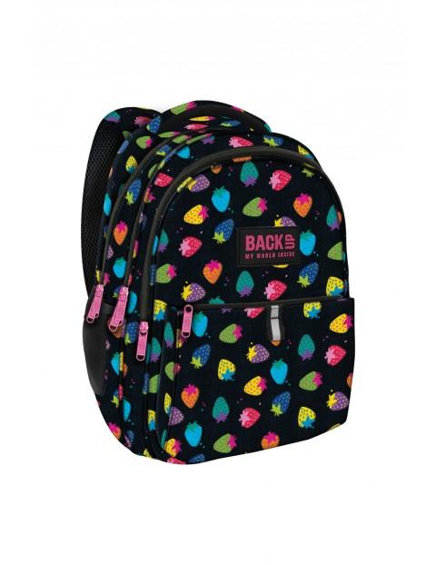 Plecak dziewczęcy czarny w kolorowe truskawki