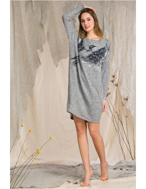 Sukienka z nadrukiem sroki w locie - szara