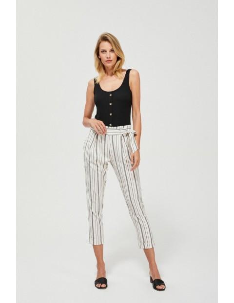 Spodnie z wysokim stanem zdobione - szare, pionowe paski