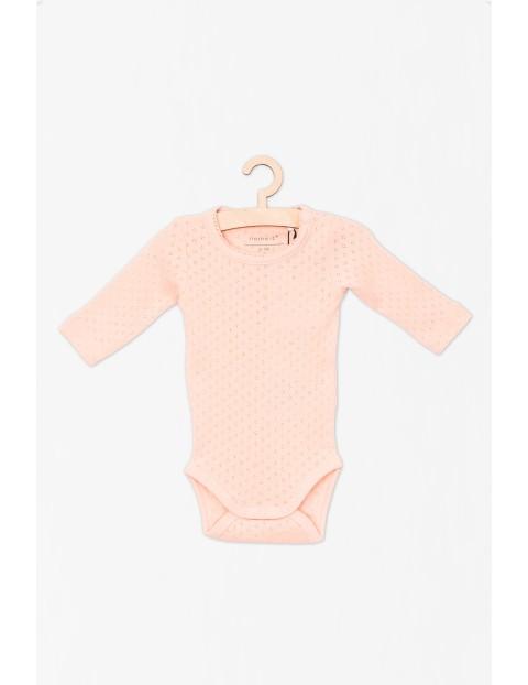 Body dla noworodka- różowe z długim rękawem