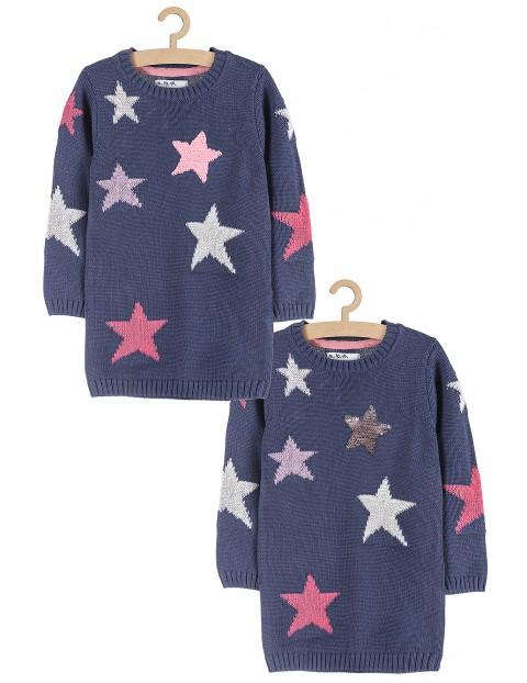Sweter dziewczęcy granatowy w gwiazdki