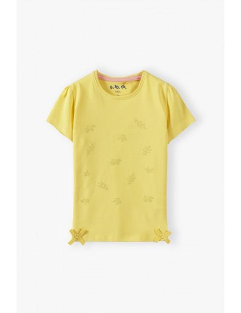 Bawełniany żółty t-shirt dziewczęcy z listkami