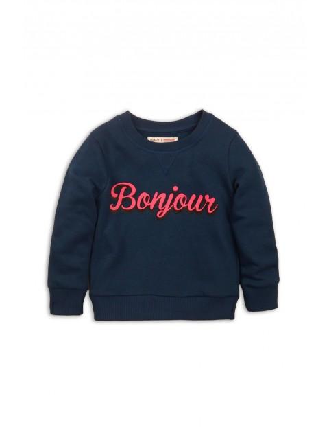 Bluza dziewczęca nierozpinana granatowa Bonjour