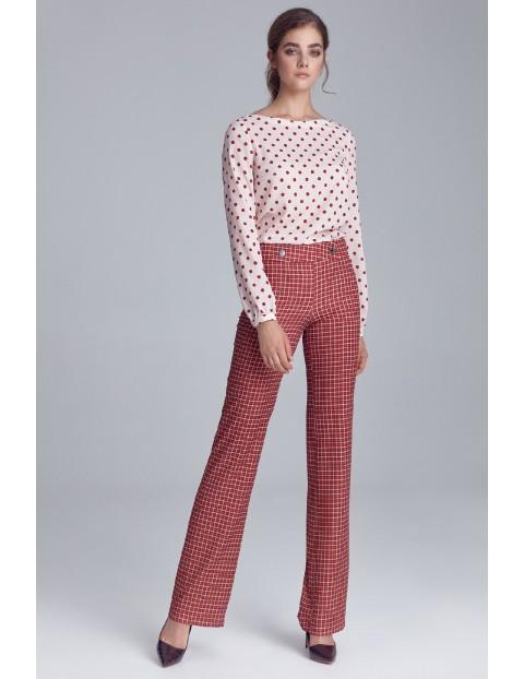 Kremowa bluzka damska w grochy z bufiastymi rękawami