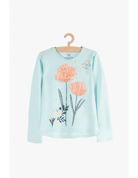 Bluzka dla dziewczynki- niebieska z aplikacją 3D