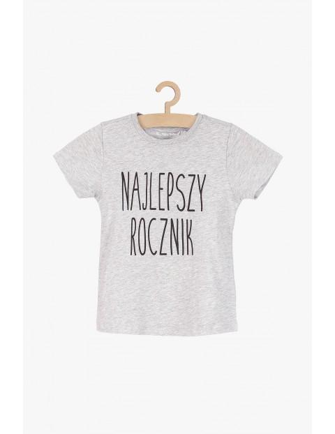 Szary t-shirt z napisem- Najlepszy rocznik
