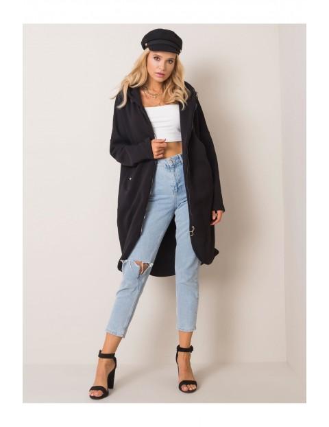 Bluza damska dresowa  z kapturem  - czarna