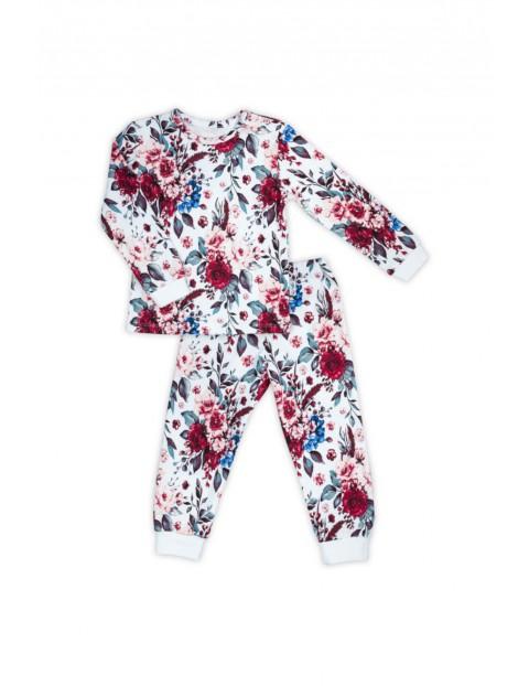 Bawełniana  piżama z długim rękawem z kwiecistym wzorkiem - biała