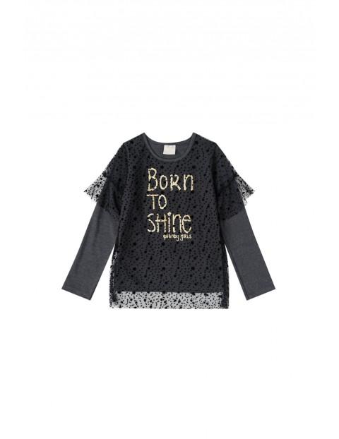 """Bluzka dziewczęca czarna z napisem """"Born to Shine"""""""