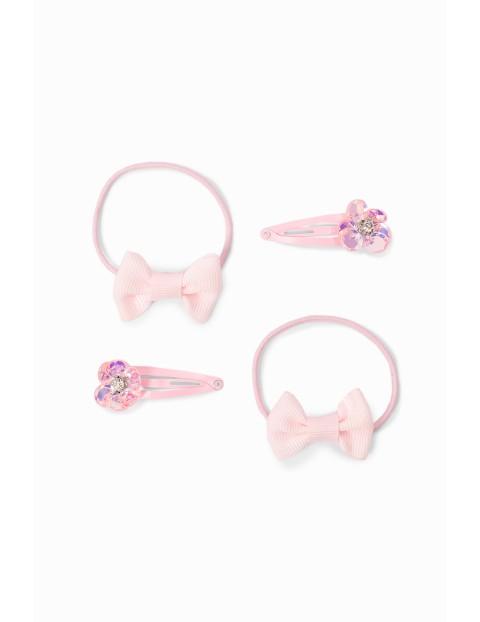 Ozdoby do włosów dla dziewczynki - gumki do włosów i spinki w kształcie kwiatków - różowe