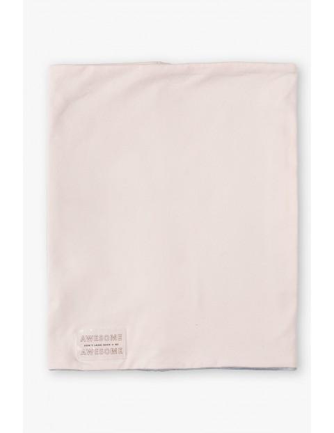 Komin dziewczęcy dzianinowy w kolorze pudrowego różu i szarym- dwustronny