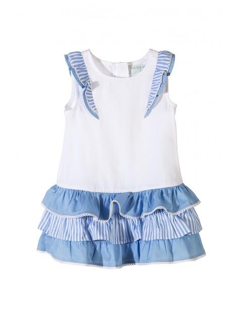 Sukienka na lato dla dziewczynki- ozdobne niebieskie falbanki
