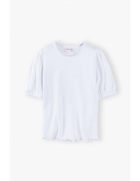 Biały t-shirt dziewczęcy w prążki - krótki rękaw