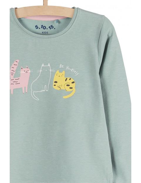 Bluzka dziewczęca z kotami- długi rękaw