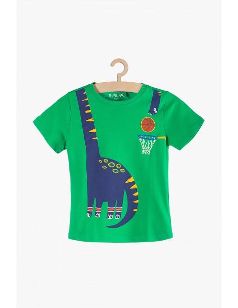 T-shirt chłopięcy zielony z dinozaurem