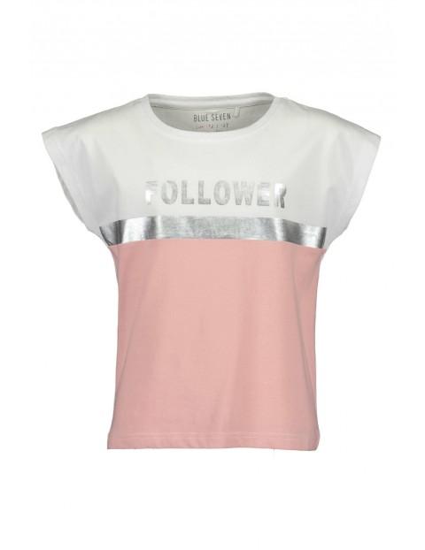 Koszulka dziewczęca biało-różowa- Follower