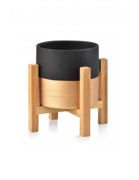AVA Doniczka czarno-złota na drewnianym stojaku