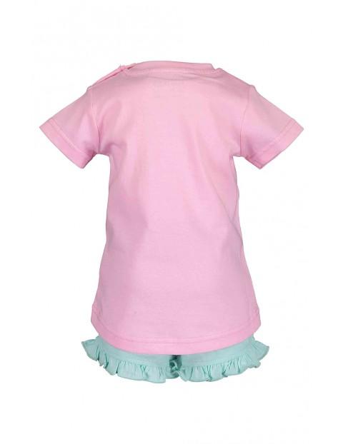 Komplet dziewczęcy kolorowa koszulka i krótkie spodenki