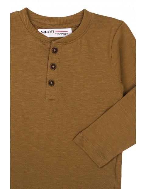 Bluzka niemowlęca bawełniana z guzikami brązowa