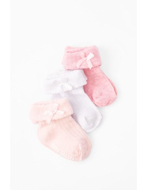 Skarpetki niemowlęce z kokardkami 3pak różowe