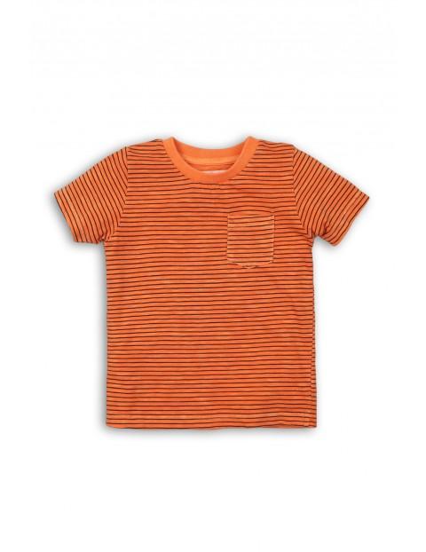 Pomarańczowy t-shirt w paski rozm 92/98