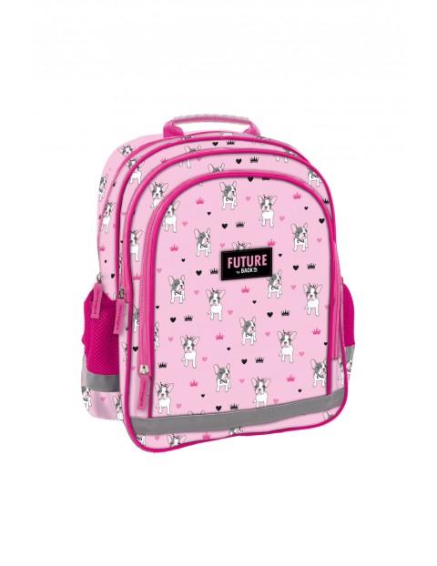 Plecak dziewczęcy różowy w pieski