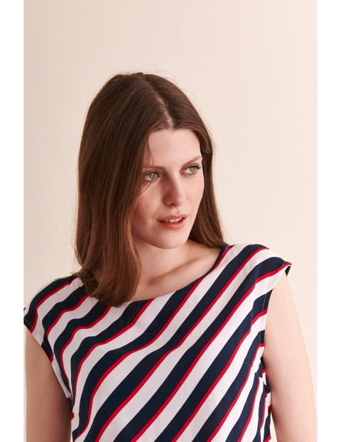 Bluzka damska w ukośne paski- biało-granatowo-czerwone