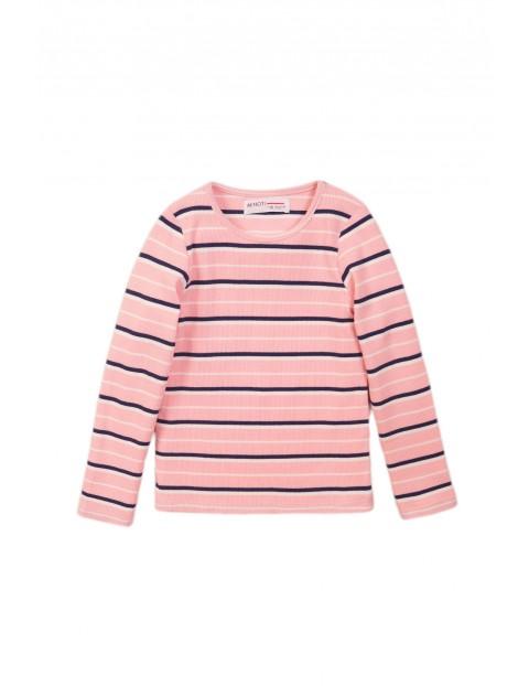 Różowa bluzka z długim rękawem- granatowe paski