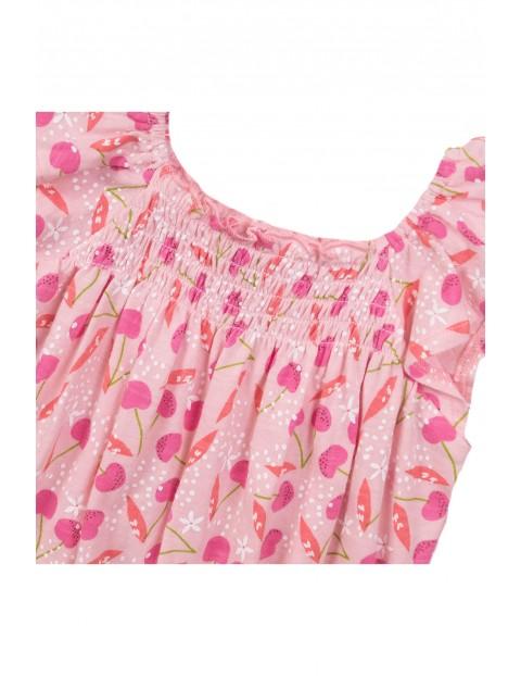 Kombinezon bawełniany na lato- różowy w wiaty
