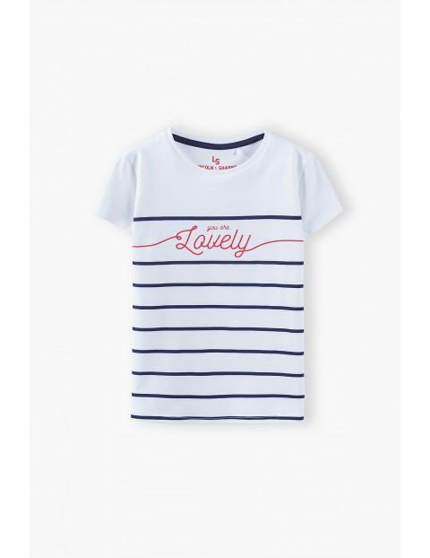 T- shirt dziewczęcy w paski z napisem Lovely