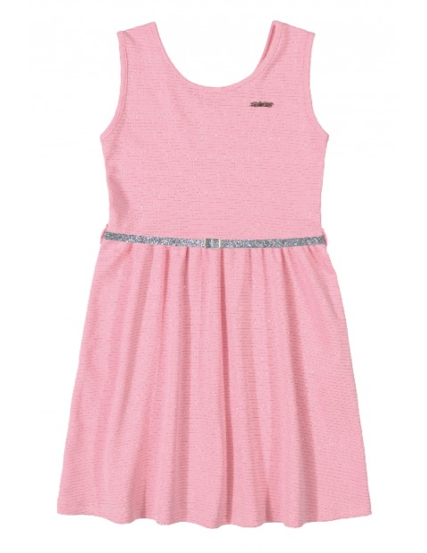 Sukienka dziewczęca różowa ze srebrnym paskiem