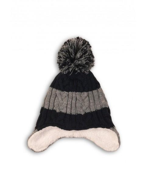 Czapka chłopięca na zimę - szara w paski rozmiar 80/92