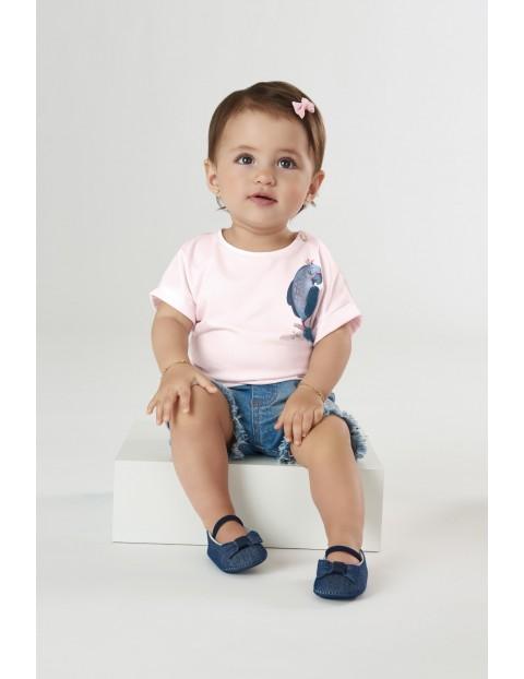 Koszulka dziecięca z papugą - różowa