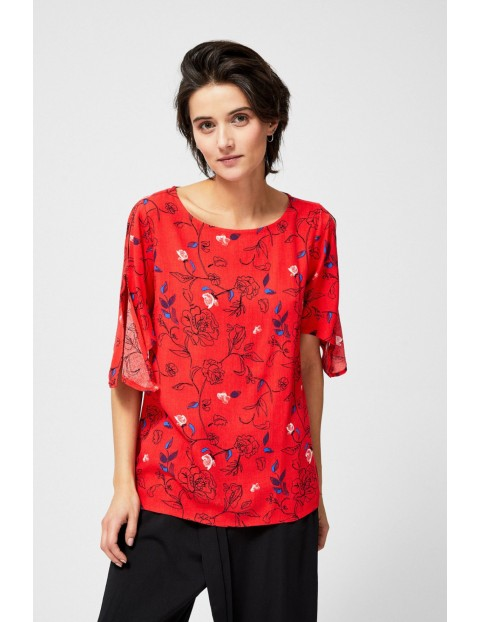 Bluzka damska koszulowa w kwiaty czerwona