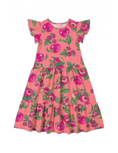 Sukienka dziewczęca różowa w owoce